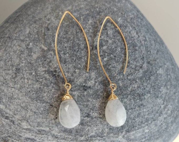 Drop Earring, Faceted Teardrop Moonstone Gold Fill, Sterling Silver, Earrings, Moonstone Earrings, Earrings, Dangle, Dainty, Moonstone