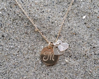 Mothers Necklace, Initial Necklace, Gold filled, Sterling silver hearts