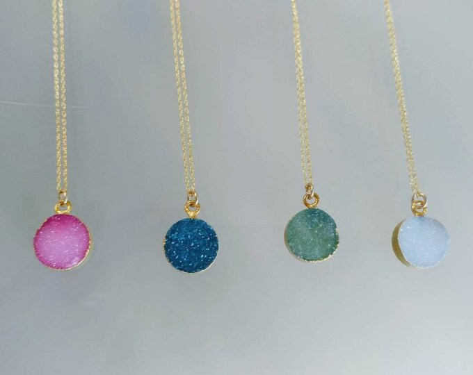 Gold Druzy necklace, Natural Color Druzy Crystals, Dainty, Druzy, Gold Necklace, Pink, Blue, Green, White, Crystal Necklace