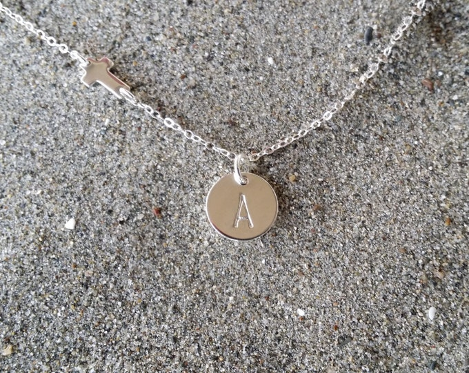 Tiny Sterling Cross Monogram Necklace, Cross Pendant, Initial Necklace