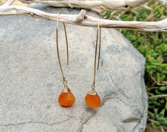 Drop Earring, Faceted Gemstone, Carnelian, Gold Filled, Sterling Silver, Earrings, Gemstone Earrings, Dangle,Dainty, natural gemstone