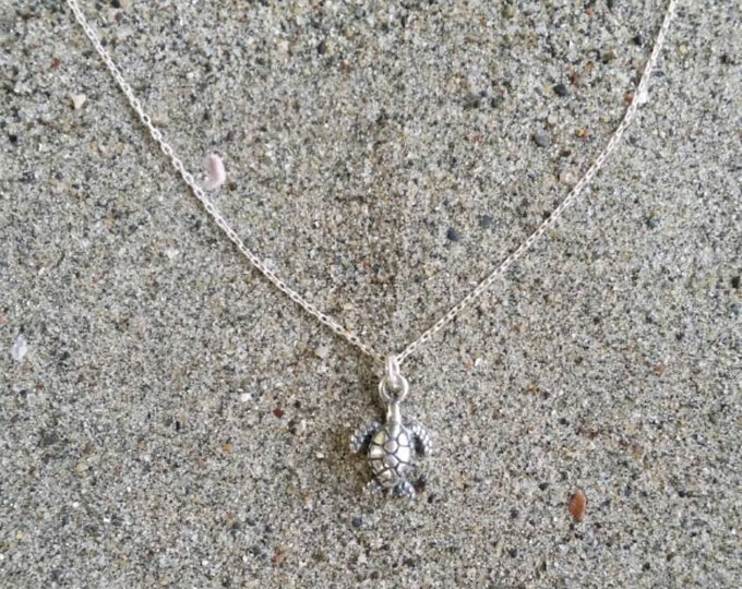 Tiny Turtle, Sterling Silver, Necklace, Silver, Sea Turtle