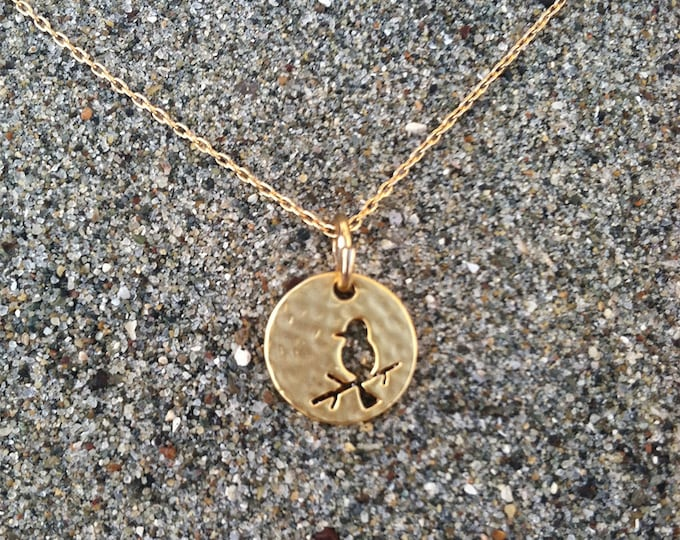 Bird Necklace, Bird Pendant, Hammered Matte Gold