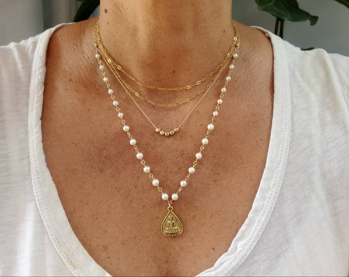 Buddha Necklace Set, Set of 3, Pearl, Gold, Silver, Three Necklaces, Layering Necklaces, Necklace Set, Layered, Delicate, Dainty, Minimalist
