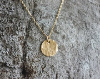 Tiny Gold necklace, hammered Circle, layering necklace, gold fill, tiny necklace, tiny charm necklace, hammered, coin necklace,hammered coin