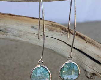 Bezel Set, Drop Earring, Faceted Crackled Glass, Silver Ear Wire, Erinite
