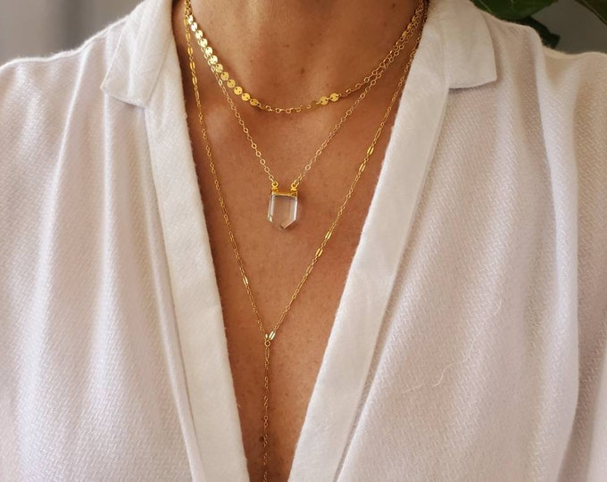 Layered Necklace Set, Crystal, Set of 3, Gold, Silver, Three Necklaces, Layering Necklaces, Necklace Set, Layered Set, Dainty, Minimalist,
