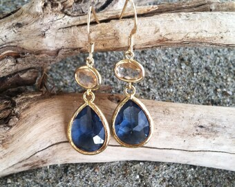 Bezel Set, Drop Earring, Faceted Peach and Montana Blue Stone, Gold Fill Ear Wire