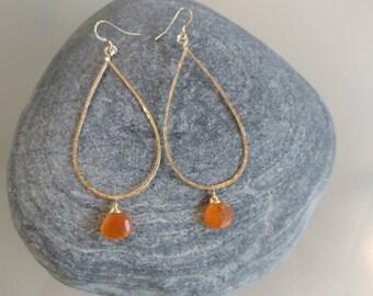Gemstone Earrings, Gold Fill, Sterling Silver, Carnelian, Hoop Earrings, Hammered Earrings, Silver, Gold Fill, Long Drop Earrings, Hammered