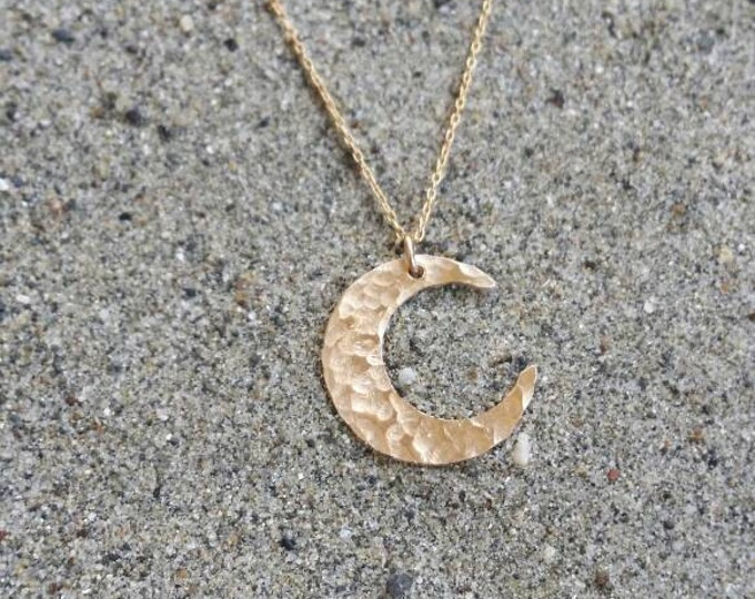 Gold Moon Necklace, Medium Hammered Moon, Delicate Gold Moon, Hammered Moon Necklace