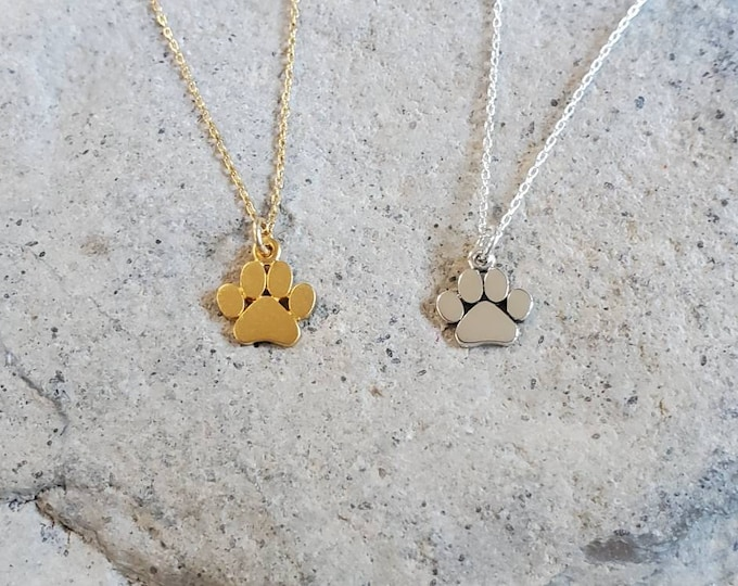 Tiny Paw Print Necklace, Sterling Silver, or, Gold Vermeil, Paw Necklace, Animal Necklace, Pet, Dog, Cat, Necklace, Paw Print