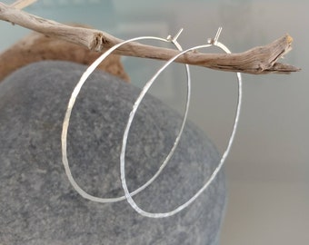 Thin Hoop Earrings, Hoop Earrings, Lightweight, Hammered Hoop Earrings, Hammered Earrings, Sterling Silver, or, Gold, Small, Medium, Large