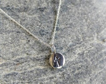 Tiny Sterling Cross Necklace, Sterling Silver, Cross Necklace, Silver Cross, Pendant, Cross, Tiny Silver Cross Necklace