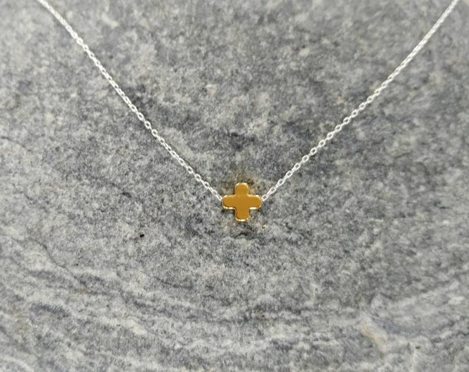 Tiny Gold Fill Cross Necklace, Tiny Cross Pendant, Gold Cross, Sterling Silver Chain, Dainty, Gold Necklace, Gold Fill, Sterling Silver