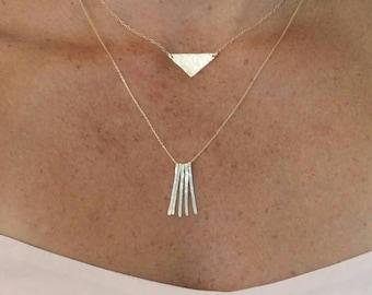 Gold fringe necklace, simple necklace, gold neclace, small gold necklace, hammered necklace, small, layering, fringe