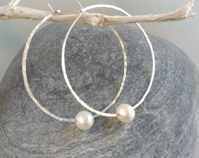 Hoop Earrings, Pearl, Lightweight, Simple Hoops, Hammered Hoops, Hoop Earrings, Hammered Earrings, Gold, Sterling Silver, Small, large