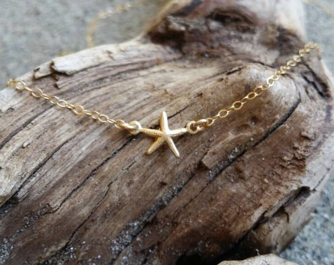 Tiny Gold Starfish Necklace, 14K Gold Fill, Starfish Pendant, Starfish Necklace, Gold Starfish Necklace, Dainty, Delicate