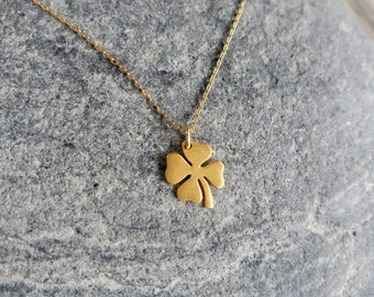 Gold Shamrock Necklace, Gold Clover, Dainty Gold Necklace, Shamrock Necklace, 4 leaf clover necklace, Gold, Shamrock, Dainty, Minimalist