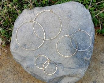 Gold Hoop Earrings, Simple Hoops, Hammered Hoops, Hoop Earrings, Hammered Earrings, Gold Earrings, Small, medium, large, gold hoops, thin