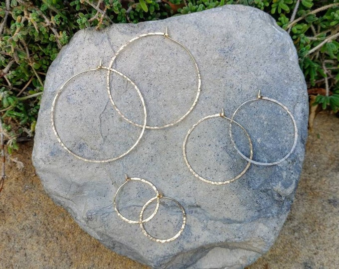 Gold Hoop Earrings, Simple Hoops, Hammered Hoops, Hoop Earrings, Hammered Earrings, Gold Earrings, Small, medium, large, gold hoops, thin
