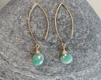 Gemstone Drop Earring, Amazonite, 14k Gold Fill, Sterling Silver, Earrings, Gemstone Earrings, Earrings, Dangle, Dainty