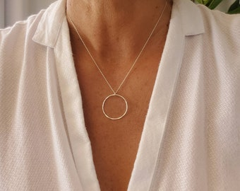 Silver Circle Necklace, Hammered Necklace, Sterling Silver, Layering Necklace, Silver Necklace, Simple, Dainty, Delicate Necklace, Circle