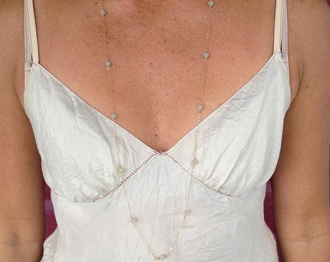 "Swarovski Crystal Long necklace, Gold Chain, Sand Opal Crystal, 36"" necklace, wrap necklace"