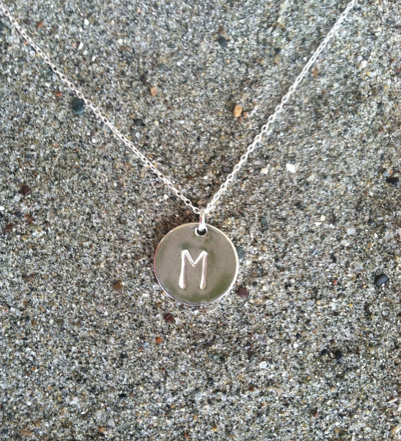 Monogram Necklace Initial Necklace Sterling Silver Round image 0