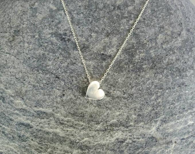 Tiny Sterling Silver Heart Necklace, Heart Necklace, Silver Heart Necklace, Heart Bead, Sterling Silver, Dainty Heart, Tiny Heart