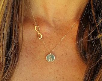 Gold Infinity Monogram Necklace, Infinity Pendant, Monogram
