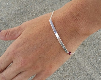 Sterling Silver Monogram Bracelet, Birthstone Bracelet, Initial bracelet, Silver Bar Bracelet