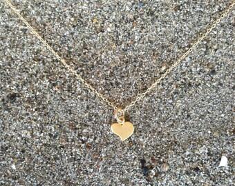 16K Matte Gold, Heart Necklace, Tiny Heart Pendant