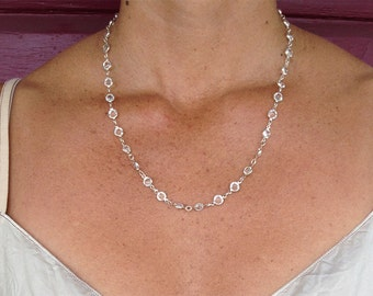"Swarovski Crystal necklace, Silver Bezel Crystal, Faceted Crystal, 24"" necklace"