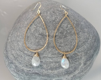 Moonstone Earrings, Gold Fill, Sterling Silver, Hoop Earrings, Hammered Earrings, Silver, Gold Fill, Moonstone, Long Drop Earrings, Hammered