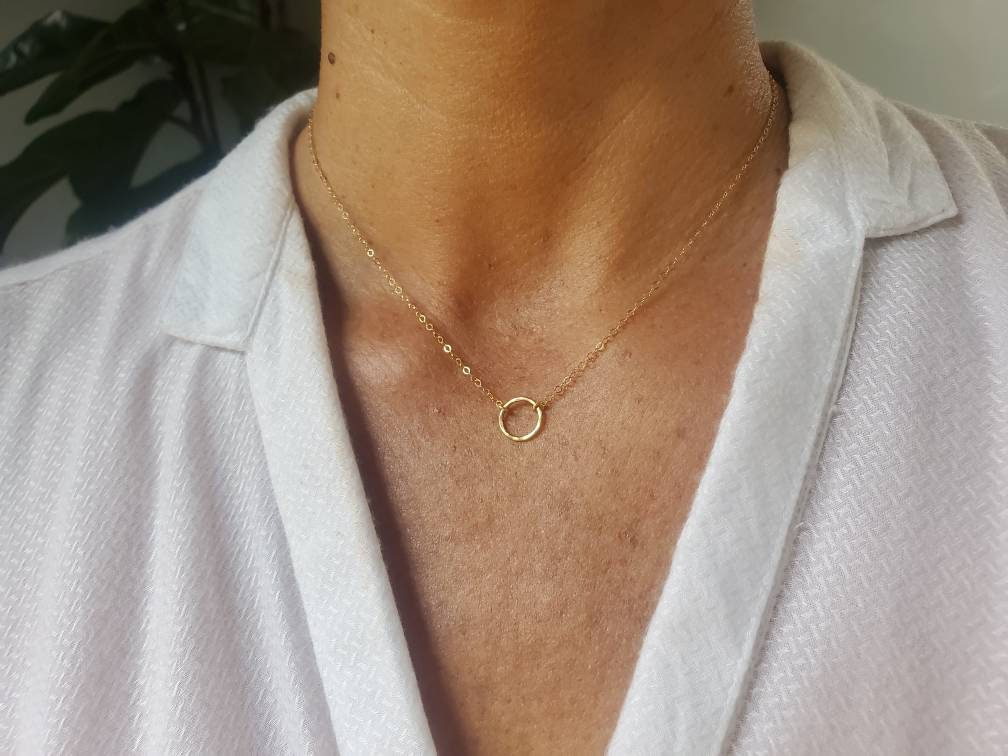 Eternity Circle Choker Necklace Karma Necklace Minimalist Geometric Necklace Layering Necklace Gold Vermeil Chain Necklace