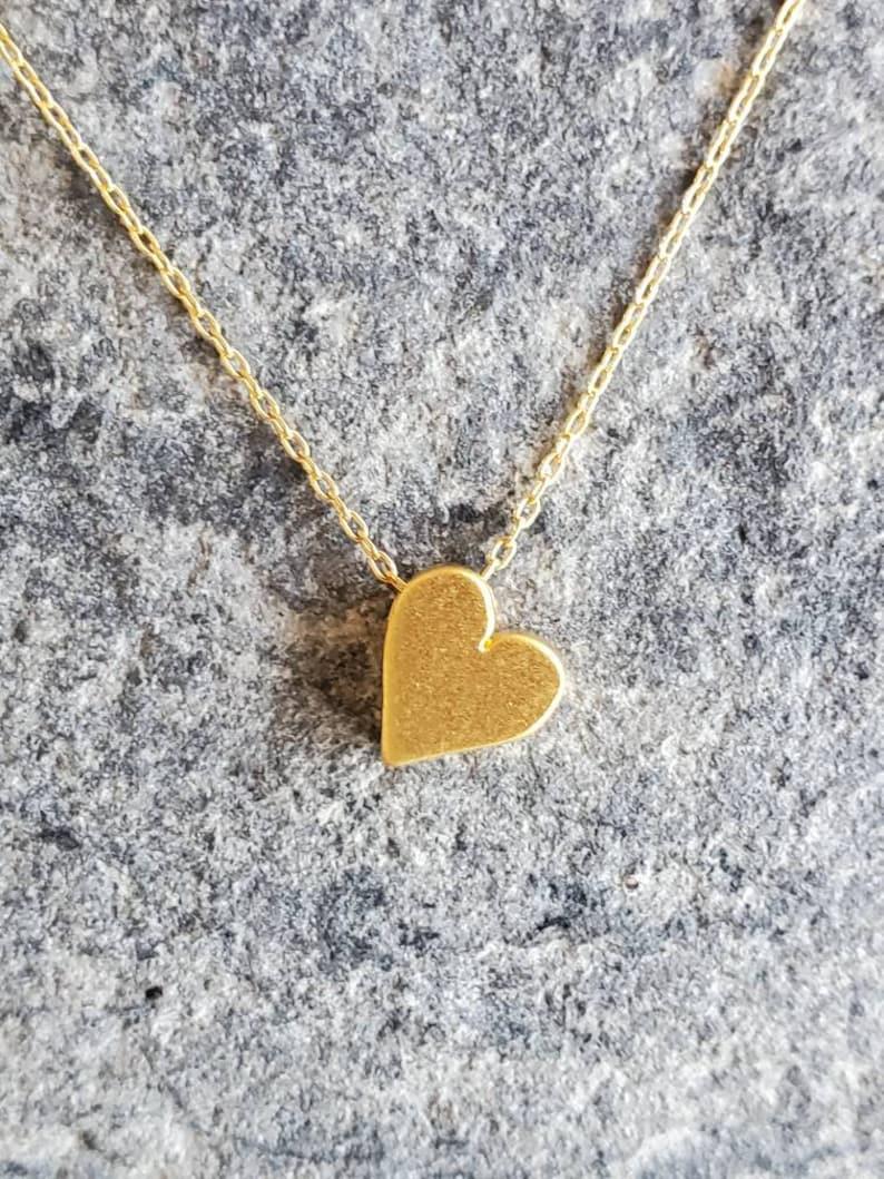 Tiny Gold Heart Necklace Heart Necklace Gold Vermeil Gold Gold Vermeil