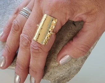 Hammered Shield Ring, Gold, Silver, Hammered, Simple, Large Ring, Gold Fill, Sterling Silver, Chunky Ring, Statement Ring,Finger Ring,Square