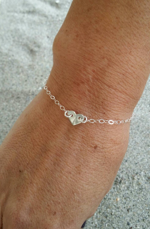 Sterling Silver Heart Bracelet Tiny Heart Monogram image 0