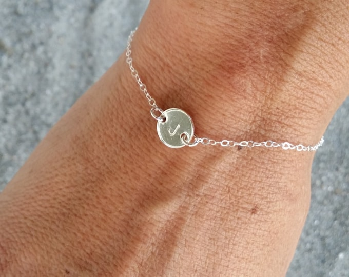 Tiny Sterling Silver, Monogram Bracelet, Initial Bracelet, Sterling Silver
