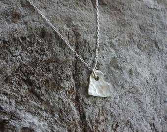 Tiny sterling silver necklace, hammered heart, layering necklace, sterling silver, tiny silver necklace, tiny charm necklace, heart necklace
