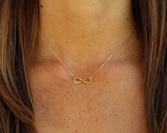 Gold Infinity Necklace, Infinity Pendant, Gold Vermeil