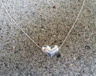 Sterling Silver Puffed Heart Necklace, Silver Heart, Heart Necklace, Heart Bead