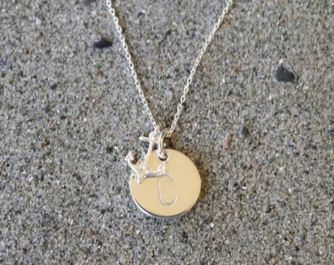 Anchor, Initial Necklace, Sterling Silver, Monogram necklace