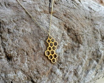 Honeycomb necklace, Bronze, or, Sterling Silver, Honeycomb,  charm necklace, Simple, Necklace, Bronze Necklace, Everyday necklace,
