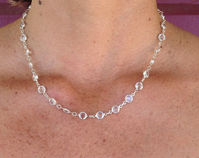 """Swarovski Crystal necklace, Bezel Crystal, Faceted Crystal, 18"""" necklace"""