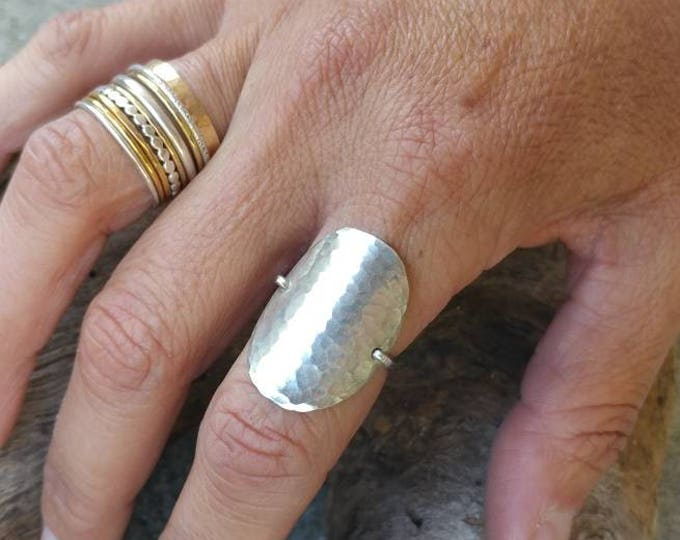 Silver Hammered Ring, Circle Ring, Sterling Silver Ring, Hammered, Simple, Large Ring, Sterling Silver, Chunky, Statement Ring, Silver Ring