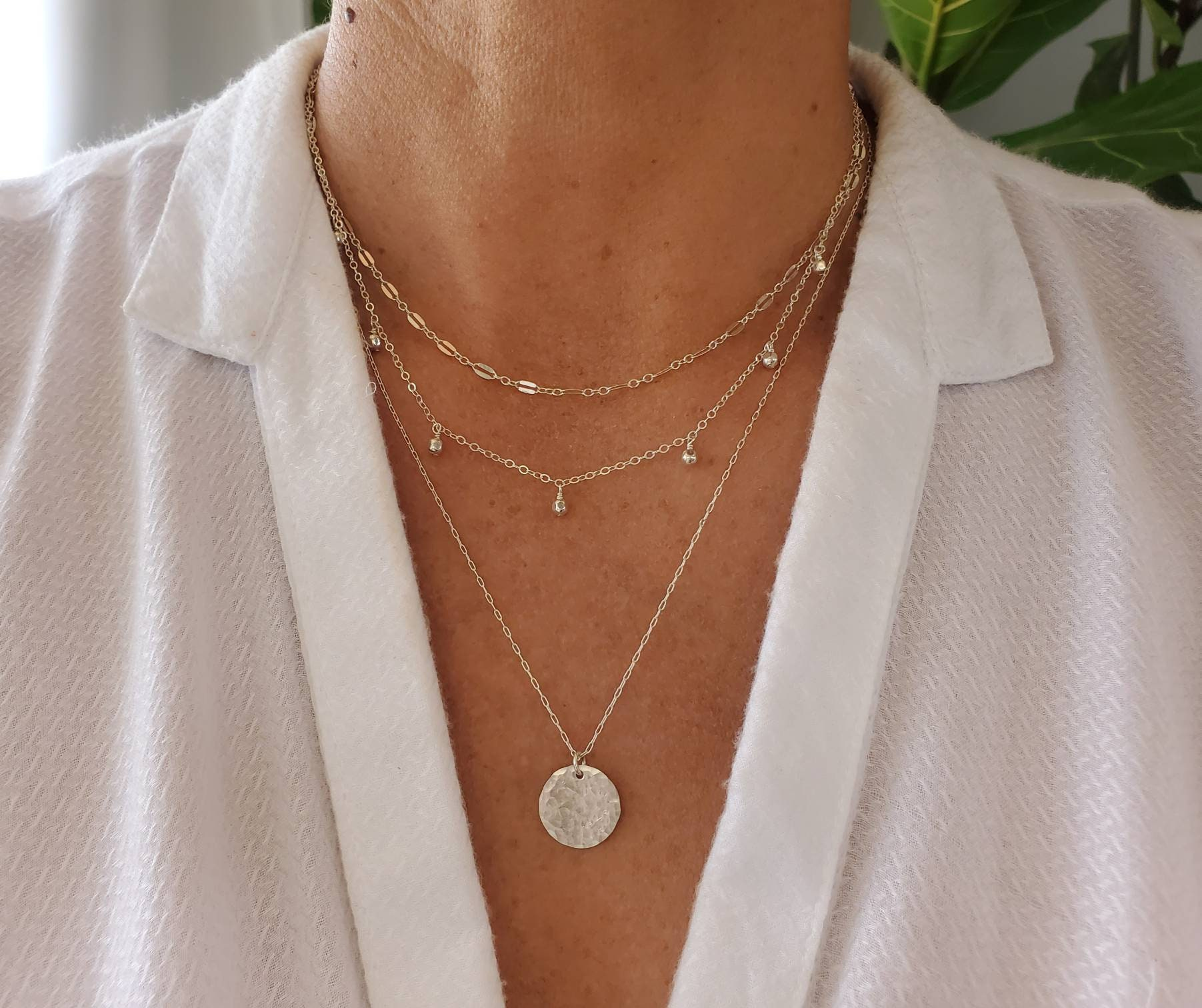 edgy jewelry chain jewelry The Three Layered Necklace stainless steel  SHOPCIDIKNEE layered necklace dainty