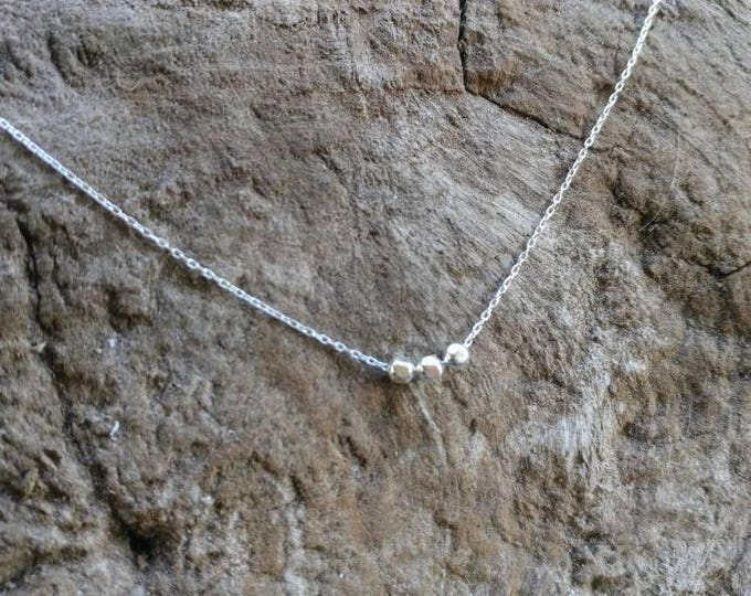 Tiny faceted bead necklace, tiny silver necklace, silver beads, tiny beads, dainty necklace, silver or gold, tiny necklace