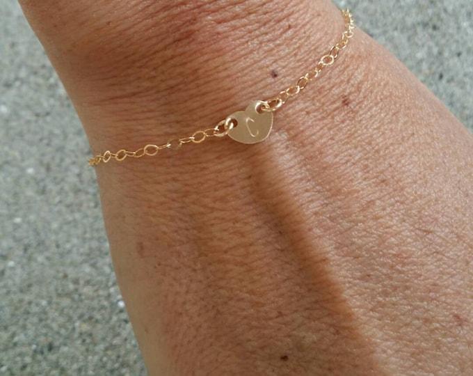 Gold Heart Bracelet, Tiny Heart, Monogram