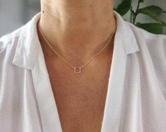 Teenie Tiny Silver necklace, Tiny Square, Sterling Silver, tiny necklace, tiny charm necklace, Dainty, Tiny Silver Necklace, Everday